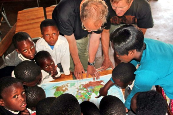 Scott and Jeff with learners at first school